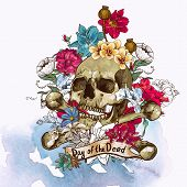 stock photo of sugar skulls  - Skull and Flowers Vector Illustration Day of The Dead - JPG