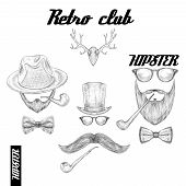 stock photo of tobacco-pipe  - Retro hipster club accessories set for gentleman of glasses hat tobacco pipe bow mustache and beard isolated sketch vector illustration - JPG