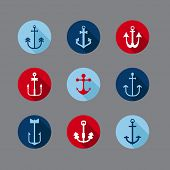 Set of Anchor Nautical Icons - for your logo, design, scrapbook - in vector