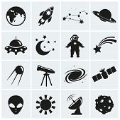 stock photo of moon silhouette  - Collection of 16 space and astronomy icons - JPG