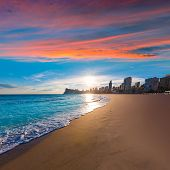 stock photo of costa blanca  - Benidorm Alicante playa de Poniente beach sunset in spain Valencian community - JPG