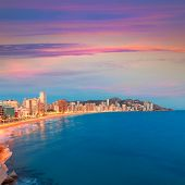 pic of costa blanca  - Benidorm sunset Alicante playa de Levante beach in spain Valencian community - JPG