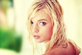 Young beautiful blond teen woman
