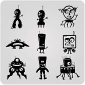 vector contour robots. icons