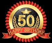 50 Years Happy Birthday Golden Label With Ribbons, Vector Illustration