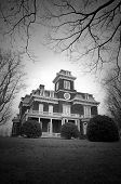 Victorian Mansion On A Dark Winter Day.
