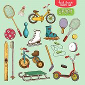 sport toys set illustration