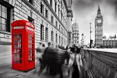 stock photo of phone-booth  - Red telephone booth and Big Ben in London - JPG