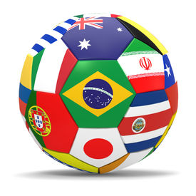 pic of flags world  - 3D render of football with drop shadow and flags representing all countries participating in football world cup in Brazil in 2014  - JPG