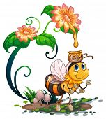 Illustration of a bee under a flower
