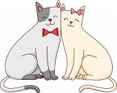 Illustration Featuring a Cute Cat Couple