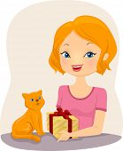 Illustration of a Girl Handing a Gift to a Cat