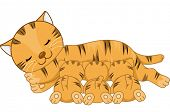 Illustration Featuring a Cat Breastfeeding Her Kittens