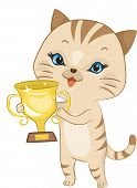 Illustration Featuring a Cup Holding a Golden Trophy