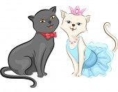 Illustration of a Cat Couple All Dressed Up