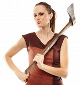 stock photo of ax  - Halloween image with a crazy young woman holding a rusty old ax - JPG