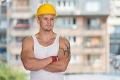 Engineer Construction Wearing A Yellow Helmet