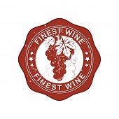 Finest Wine rubber stamp with grapes.