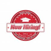 Now Hiring red round label / stamp.