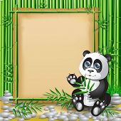 pic of panda  - Panda sitting in bamboo branches and holding a branch of bamboo - JPG