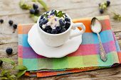 Blueberries - summer delights, fresh blueberries with whipped cream