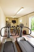 Gym with special equipment, empty, interior