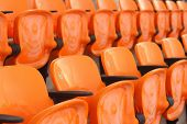 stock photo of grandstand  - A seat grandstand in an empty stadium - JPG