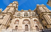 Detail of the facade of Malaga Cathedral Malaga Andalusia Spain.