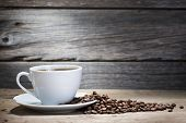 warm cup of coffee on wooden background