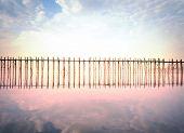 Outdoor nature photography of wooden U Bein bridge in Myanmar