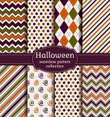 stock photo of dash  - Set of halloween seamless backgrounds - JPG