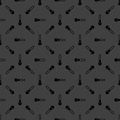 Thermometer. web icon. flat design. Seamless gray pattern.