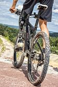 Handicapped Mountain Bike Rider Before Downhill Ride