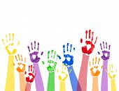 Horizontal background with colored paint hands