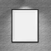 White blank frame on brick wall background