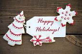 Red White Winter Background With Happy Holiday Greetings
