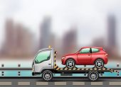 picture of towing  - Tow truck loaded up the car against the background of the modern city to the beach - JPG