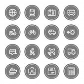 Transport web icons, grey circle buttons