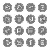Document web icon set 2, grey circle buttons