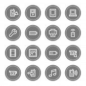 Mobile content web icons, grey circle buttons