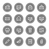 Email web icons, grey circle buttons