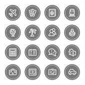 Travel web icon set 5, grey circle buttons