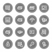 Finance and Banking web icons, grey circle buttons