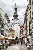 BRATISLAVA, SLOVAKIA - JUNE 25, 2014: Old street near Michael's Tower (Michalska Brana)