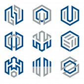 Abstract hexagon shaped vector design elements 3, blue and grey