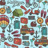 Travel sketch seamless pattern