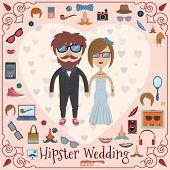 Hipster wedding card