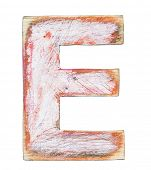 Painted wood alphabet, letter E