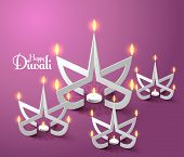 image of diwali lamp  - Vector Paper Sculpture of Diwali Diya  - JPG