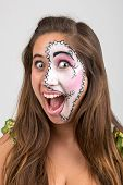 pic of face painting  - Beautiful young girl portrait with face painting - JPG